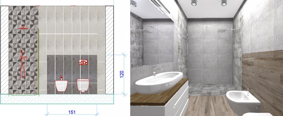 Projekt łazienki z dużą kabiną prysznicową