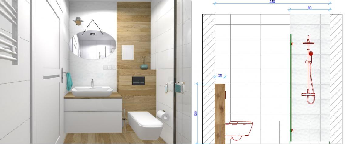 Projekt łazienki - architekt wnętrz z Bydgoszczy