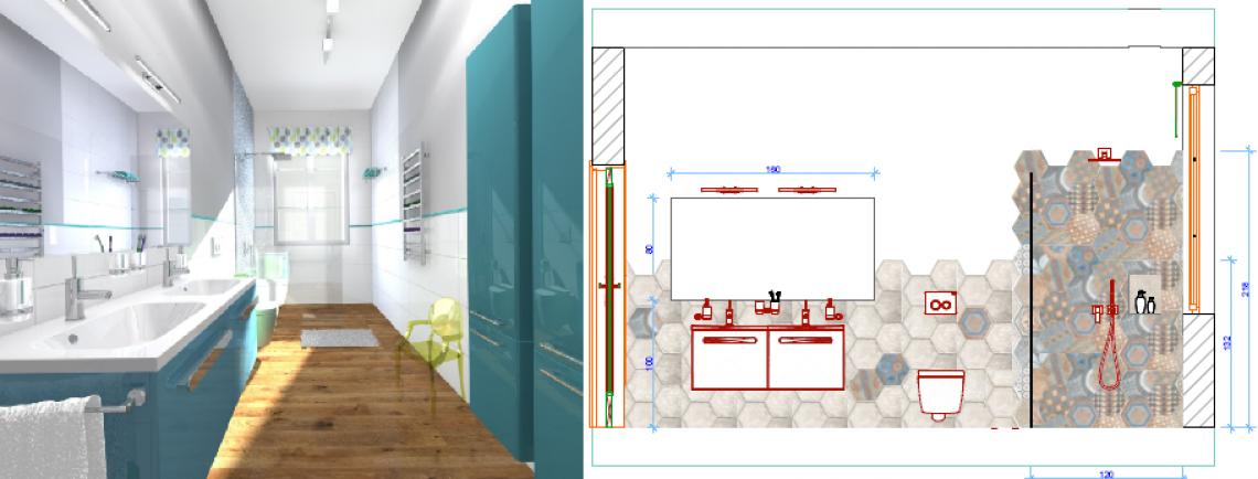 Barwna i nowoczesna łazienka - projekt Bygdoszcz