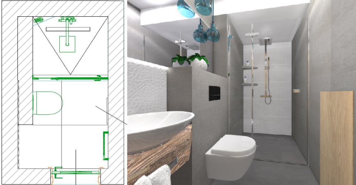 Łazienka z prysznicem - projekt